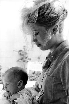Catherine Deneuve with her son, 1963.