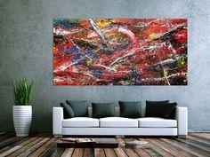 Abstraktes Acrylbild auf Leinwand bunt modern 100x200cm von xxl-art.de