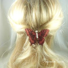 barrette française 6 cm papillon soie marron pailleté, corps perles blanches, collection Maéva, coiffure romantique,printemps,made in France