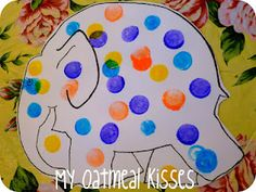 elmer the elephant - bingo dabbers for easier clean up then paint