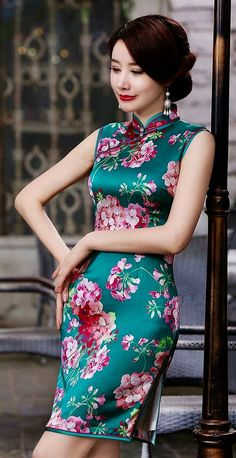 Chinese Clothing, Chinese Dresses, Blouse Dress, Peplum Dress, Oriental Dress, Photography Poses Women, Cheongsam, Chinese Style, Violet