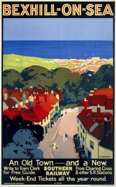 Bexhill on Sea, East Sussex. Southern Railway produced this poster in 1928 to pr… Bexhill on Sea, East Sussex. Posters Uk, Railway Posters, National Railway Museum, Tourism Poster, Southern Railways, Retro Poster, British Rail, British Isles, Photo Images