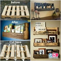 These 17 DIY Pallet Ideas are Clever! pallet idea More The post Got Pallets? These 17 DIY Pallet Ideas are Clever! appeared first on Pallet ideas. Pallet Wall Decor, Wooden Pallet Projects, Pallet Shelves, Wooden Pallets, Crate Shelves, Pallet Wood, 1001 Pallets, Book Shelf Pallet, Mini Pallet Ideas