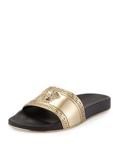 Metallic Medusa-Head Slide Sandal, Black/Gold - Versace