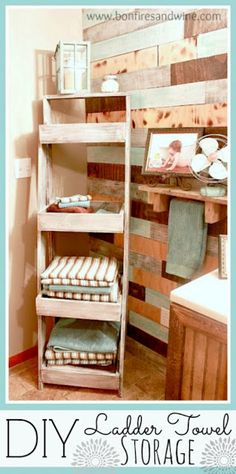 DIY Ladder Towel Storage and i kinda love the wall