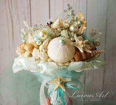 Beach Shell Bouquet Starfish Bouquet Beach Wedding by LaivaArt