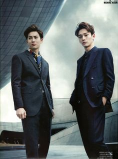 suits :: Suho and Chen of #Exo for The Celebrity, January 2015
