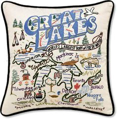 Great Lakes Pillow - Handmade Great Lakes Throw Pillow