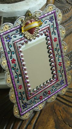 Mexican silver tin mirror with sacred heart by TheVirginRose