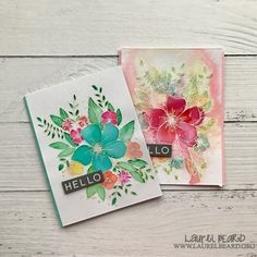 Hello Watercolored Florals – Simply Cardmaking with Laurel Beard Card Making Inspiration, Making Ideas, Concord And 9th, Miss You Cards, Card Making Techniques, Watercolor Cards, Watercolor Ideas, Heart Cards, Copics