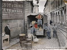 Amazing Paris street photo from the collection of Albert Kahn, shot in the early 1900s on the then revolutionary autochrome color film.