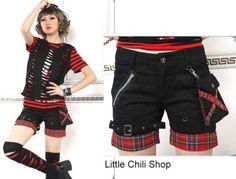 Punk Visual Kei Slim Look 71175 Shorts Waist Bag s L   eBay