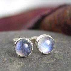 Moonstone studs sterling silver , gemstone studs £25.00