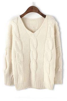 BEAUTIFUL V Neck Oversized Twist Wave Knit Pullover Sweater #Twist #Wave #Knit #Sweater #Fashion