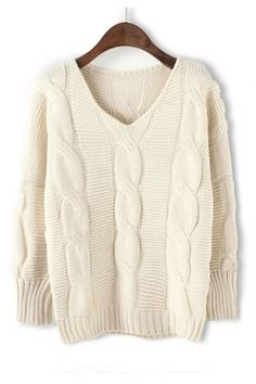 BEAUTIFUL V Neck Oversized Twist Wave Knit Pullover Sweater #Twist #Wave #Knit #Sweater #Fashion