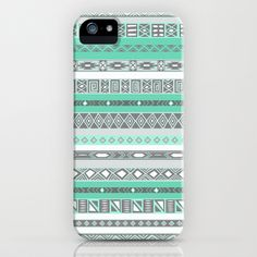 Cool Mint Tiffany Aztec Pattern iPhone & iPod Case by RexLambo - $35.00