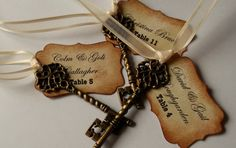 Personalized Vintage Wedding Escort Cards Skeleton Key Place Cards/Name Cards - Alice in Wonderland  x 100