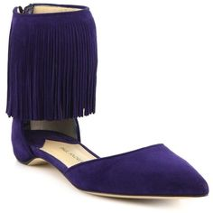 Paul Andrew Espanola Fringed Suede Flats ($321) ❤ liked on Polyvore featuring shoes, flats, twilight, suede shoes, flat shoes, ballet pumps, ballerina pumps and fringe shoes