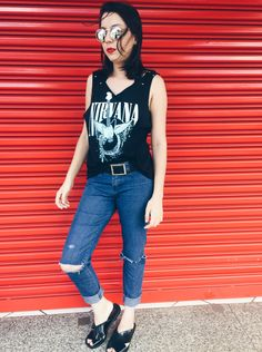 Melissa sauce, nirvana tshirt, alternative, lookbook, fashion, fernanda sabô