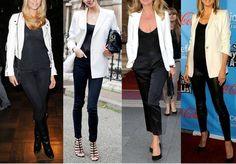 Look do Dia = Blazer Branco + Calça Preta + Blusa Preta ou Branca