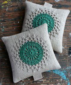 Lavender sachets -- crochet motif -- set of 2