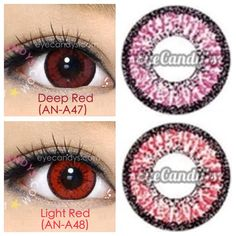 Red colored contacts (circle lenses) are amazing for cosplay and theatrical purposes! Great for costume for anime characters! Shop authentic GEO lenses with Free Shipping! http://www.eyecandys.com/red/