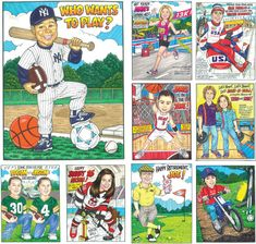 Sports theme caricature invitations