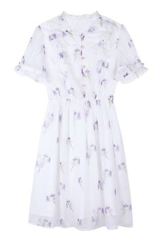Pearl Button Ruffle Floral Dress