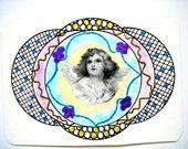 Carte de voeux et son enveloppe décorée. Ange N°2. : Cartes par matt-et-les-petits-cadeaux