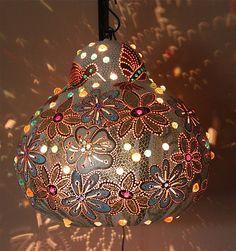 Wall hanging, living room, Gourd, lamp, glass, beadwork, crystal, blue, beads, hummingbird, flowers, yellow, white.