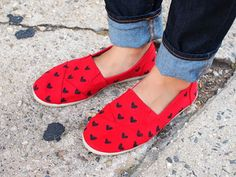 DIY Heart Stenciled Shoes using cereal box stencil and fabric pen