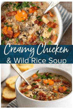 Creamy Chicken And Wild Rice Soup Is The Perfect Fall Soup Recipe To Kick Off The Season. It's Creamy, Delicious, And Filled With The Best Ingredients. Make A Batch Of This Creamy Chicken And Rice Soup To Warm You Up All Season Long Via Beckygallhardin Fall Soup Recipes, Healthy Soup Recipes, Lunch Recipes, Easy Dinner Recipes, Cooking Recipes, Tostada Recipes, Healthy Food, Cooking 101, Simple Recipes