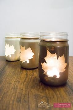 DIY őszi gyertya lámpatest bemutató :: Mason Bögre + esik levelek + ombre = szerelem!