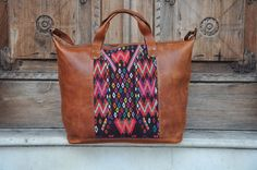 Fine Guatemalan Leather and Huipil XL by Tienditaboutique on Etsy