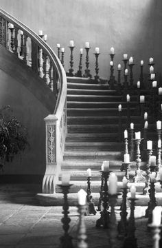 candlelit staircase