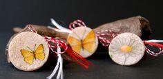 martisoare cu tehnica decoupage, fluturi si margareta, butterflies and daisy Decoupage, Diy And Crafts, Daisy, Coconut, Crafty, Fruit, 8 Martie, Bulgarian, Handmade