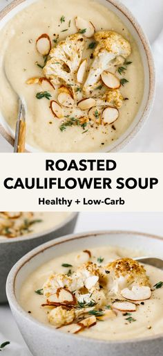 Roasted cauliflower soup is a blend of a few simple ingredients to create the perfect tasty, low-carb soup recipe. It's creamy, a bit garlicky, and has a slight nutty aroma. Low Carb Vegetarian Diet, Vegetarian Soup, Healthy Soup, Vegetarian Recipes, Healthy Recipes, Paleo, Low Carb Soup Recipes, Cauliflower Soup Recipes, Cooking Recipes