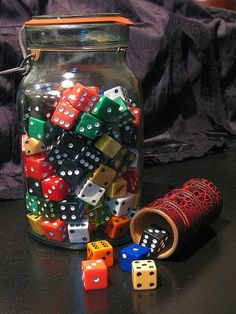 I love collecting old dice from old games and gambling establishments. This is just one jar filled with them. The dice shaker was a find at a garage sale and it is an old leather one in great condition! Vintage Love, Vintage Decor, Bottles And Jars, Mason Jars, Old Games, Vintage Games, Game Pieces, The Collector, Game Room