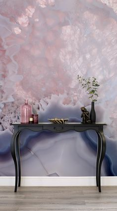 If you are dreaming of bringing crystal healing into your home, but want to keep it chic and stylish, these crystal wall murals are a brilliantly glamorous choice. They brighten up the home, bearing a Crystal Wallpaper, Wall Wallpaper, Bedroom Wallpaper, Pink Wallpaper Dining Room, Wallpaper Ideas, Spring Wallpaper, Chic Wallpaper, Wallpaper Designs, Laptop Wallpaper