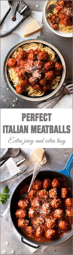 Classic Italian Meatballs - 2 little changes to the usual to make these extra soft, moist and with extra flavour!: