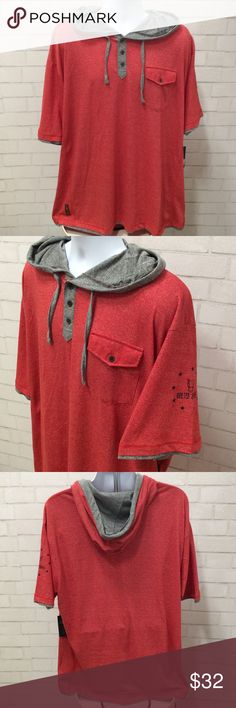 Quilted Elephant men's 3x hoodie tee Men's 3X red hooded tee. One front pocket and button neckline. 60% cotton 40% polyester.  Super soft material , lightweight yet great quality. Quilted Elephant Shirts Sweatshirts & Hoodies