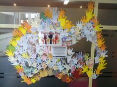 Celebrating Harmony Day in Australia with cut out of the children's hand. Each finger has information about the particular child.