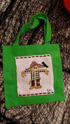 Scarecrow cross stitch candy bag compliments of Gramma.