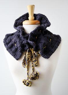 Victoriana knit scarflette in merino wool & cashmere by Elena Rosenberg