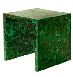 malachite side table by Marjorie Skouras