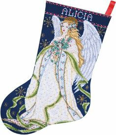 Amazon.com - Design Works Counted Cross Stitch kit Stocking - Holly Angel -