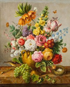Joseph Nigg (1782-1863) - Still life with flowers, oil on canvas, 69 x 54 cm.