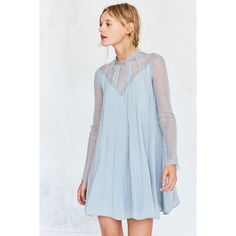 Kimchi Blue Constance Embroidered Blue Mesh Mock Neck Frock Dress (£52) ❤ liked on Polyvore featuring dresses, blue, embroidered dress, sheer sleeve dress, long sleeve short dress, sheer mini dress and short dresses