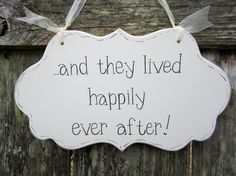"Wedding Sign, Hand Painted Wooden Cottage Chic  Flower Girl / Ring Bearer Wedding Sign, ""...and they lived happily ever after."""