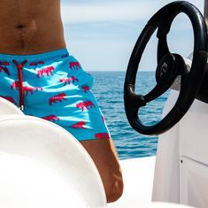 Galago Joe sky blue and pink tiger print swim shorts